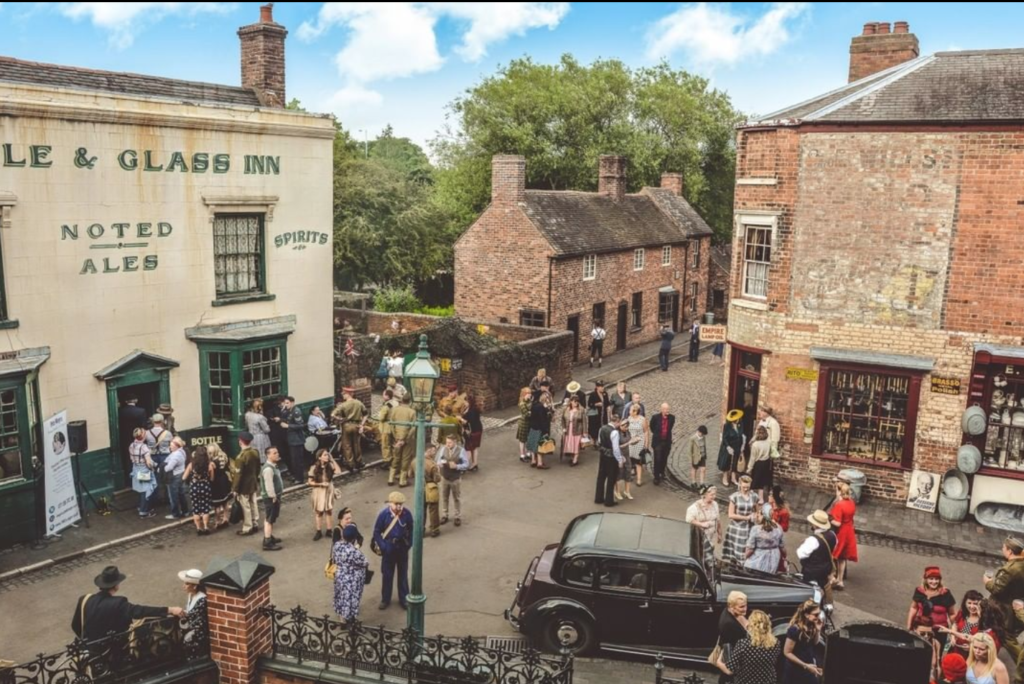 Visitors outside the pub at black country living museum
