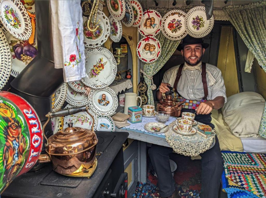 Caravan man selling wares at black country living museum