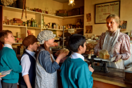 Children dressed in victorian costume at black country living museum