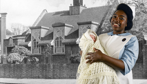 A historic photo of Lea Road Infant Welfare Centre in the background. A nurse character holding a baby is in the foreground.