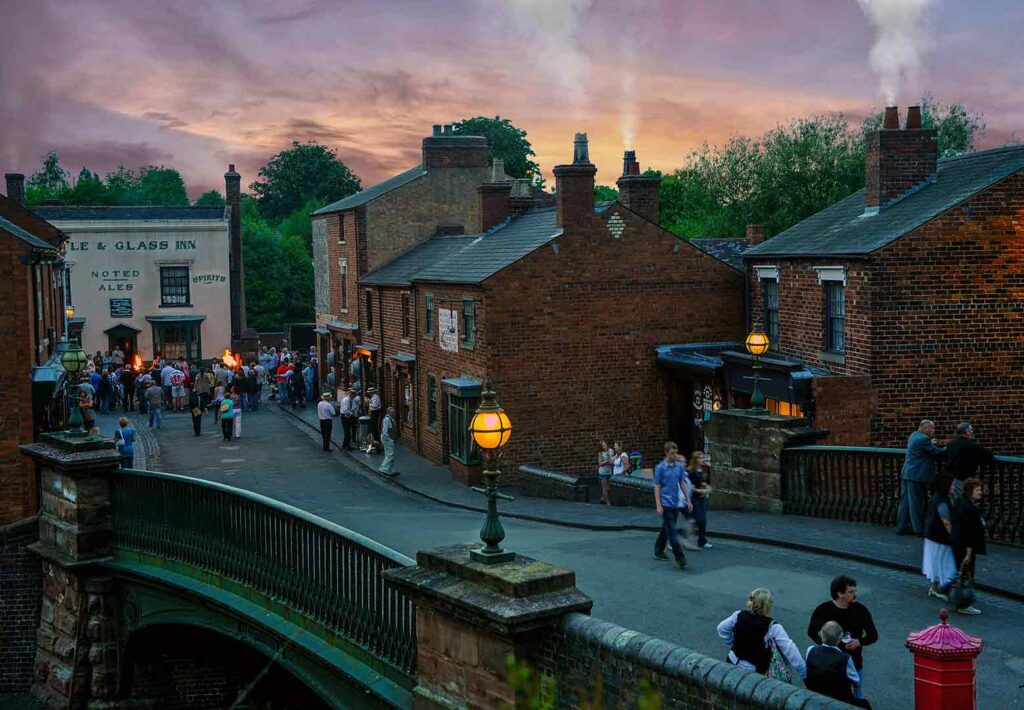 Black country living museum at night