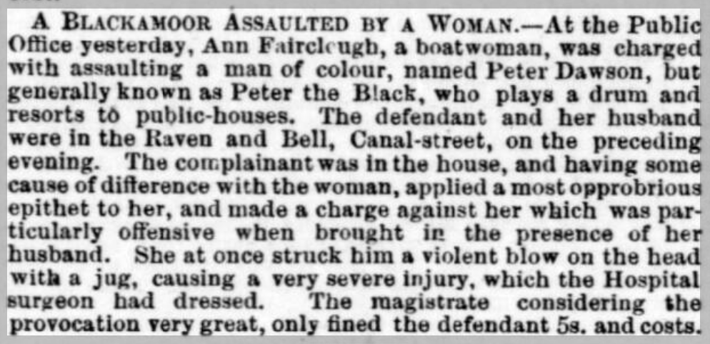 an excerpt from the Staffordshire Advertiser, 11 Jan 1862.